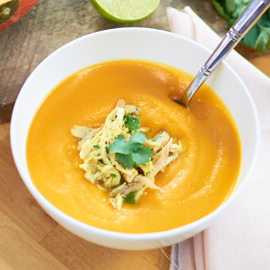 Curry Squash Soup w/ Tequila Lime Pulled Chicken