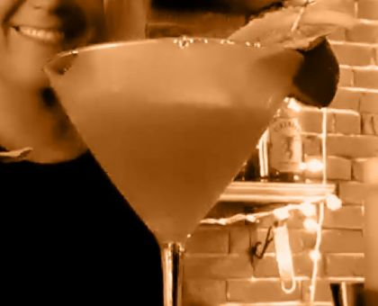 """The """"Cold Strawberry Basil Martini"""" mixed drink."""