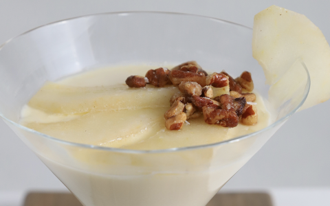 Vanilla Panna Cotta with Whiskey Poached Pears & Toasted Pecan