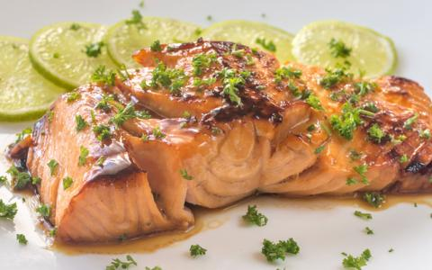 Gin & Tonic Roasted Salmon with Lime Cilantro Sauce