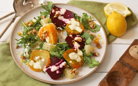 Roasted Beet, Citrus Salad with Walnuts and Zested Vodka Creme Fresh