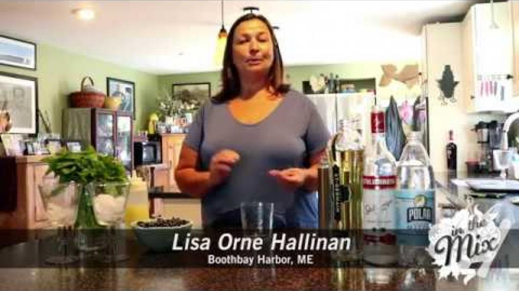 We're back with Lisa Orne Hallinan in Boothbay Harbor, and she's going to show you how to make the Blueberry Basil Gimlet!