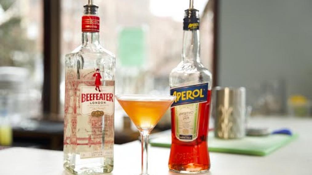 Featured in this week's Happy Hour, the Aperol Martini.